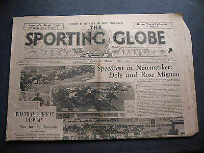 Sporting Globe   7 MARCH 1934  Newmarket Races