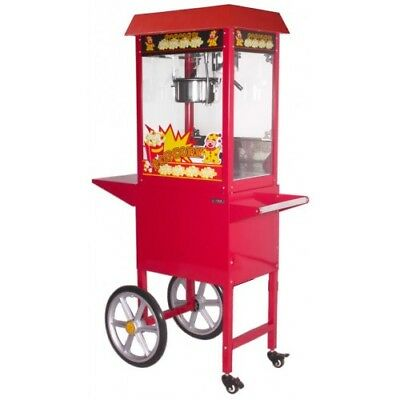 Pop Corn Machine With Matching Cart 8 OZ Large sumtasa + 2KG SEEDS + 100 CONES