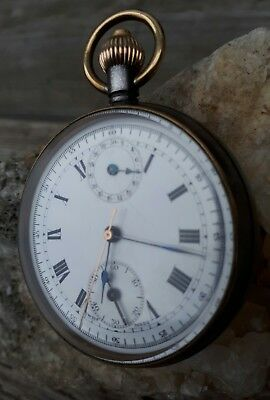 ww1 era rare minerva single button chronograph pocket watch steel case