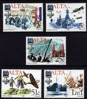 Battle of Malta 2005 End of World War II Complete Set SG 1445 - 9 Unmounted Mint