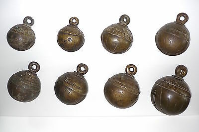 Superb Large Group of 8 Antique Burma / Myanmar Bronze Bells