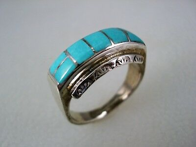 VINTAGE Larry Laate ZUNI STERLING SILVER & TURQUOISE INLAY RING sz 8