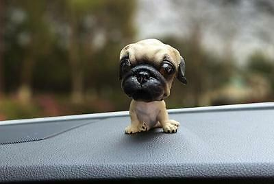 Pug Dog Figurine Bobbing Head BobbleHead Doll Toy Car Home Ornaments Decor