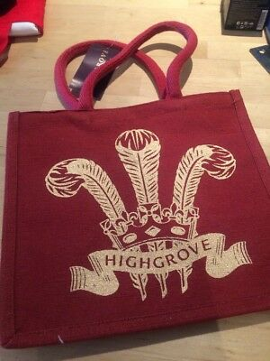 """HIGHGROVE GARDENS SHOPPING TOTE BAG 9"""" x 10"""" NEW BIODEGRADABLE JUCO RED GOLD"""