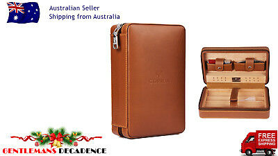 Cohiba Luxury Brown Leather 4 Cigar Humidor Travel Case Set + Lighter & Cutter