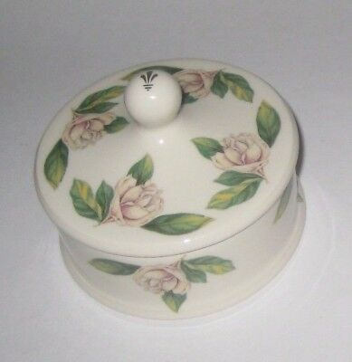 Pretty TRINKET BOX w/White ROSES by STAFFORDSHIRE Associated POTTERS