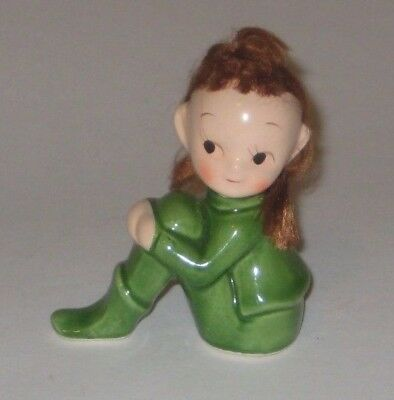 Sitting GIRL PIXIE w/HAIR Vintage NAPCO JAPAN Pottery FIGURINE