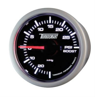 "Turbosmart Mechanical Boost Gauge 0-30psi 52mm - 2 1/16"" Black Face Silver Bezel"