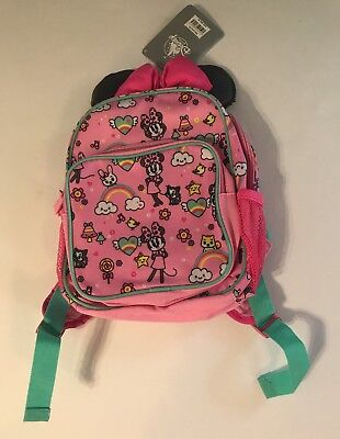 Disney Store Minnie Mouse Junior Size BackPack Minnie Ears & Bow 2 Compartments