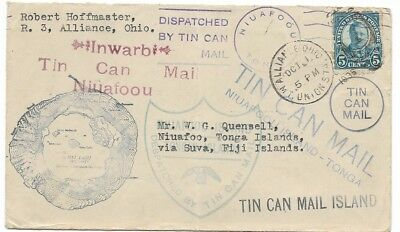 """Interesting """"Tin Can Mail"""" Cover with U.S. Stamp, 1935"""