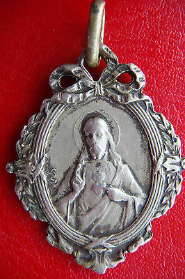 Antique  Sacred Heart Of Jesus / Our Lady Of Mont Carmel Silvered Bronze Medal