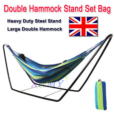 Large Garden Camping Outdoor Patio BLUE Double Hammock With Steel Frame Stand UK