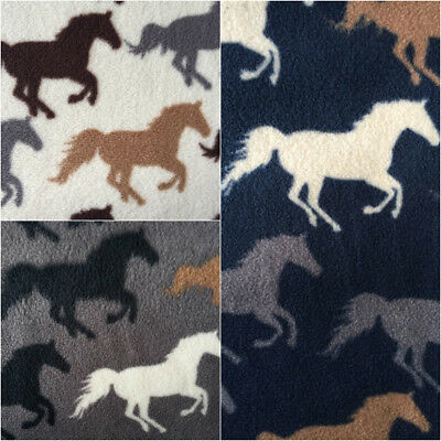 Polar Fleece Anti Pill Fabric Premium Quality Soft Material Racing Horses Print