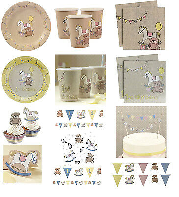 Baby ROCK A BYE BABY 1st Birthday Christening Shower Tableware Plates Cups Napks