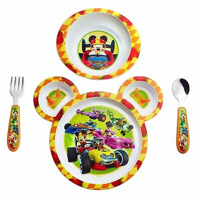 Mickey Mouse Toddler Dish Set Feeding Kid Baby Bowl Plate Fork Spoon 4 Pieces