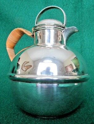 Guernsey Style Milk Jug Pitcher Insulated Wicker Handle Sterling Silver 320 gr.