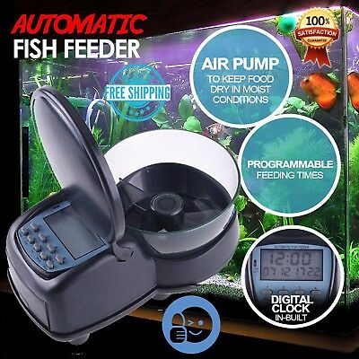 Automatic Fish Feeder Food Aquarium Tank Feeding Timer Programmable Auto Display