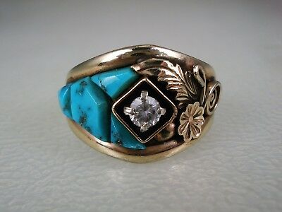 VINTAGE Francis Tabaha NAVAJO GOLDFILLED STERLING SILVER & TURQUOISE RING sz 11