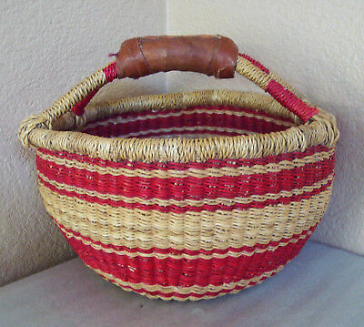 African Hand Woven Ghana Native Bolga Market Basket w/ Leather Handles