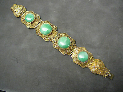 Beautiful Chinese filigree gold gilt silver bracelet w/ green jadeite jade inset
