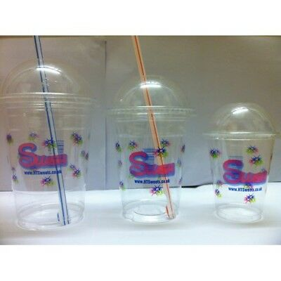 12OZ Printed PET Slush cups x 1000 (350ml) +1000 Dome lids + 1000 spoon straws