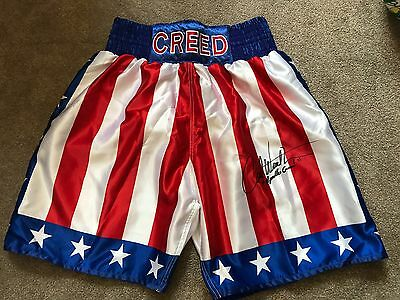 Carl Weathers ' Rocky' Signed Apollo Creed Boxing Shorts AFTAL/UACC RD COA