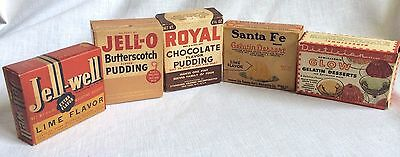 Lot of 5 Vintage Gelatin & Pudding Boxes Jello Royal Sante Fe Glow Jell Well