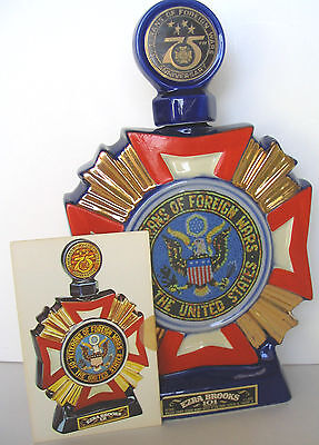 Vfw Veterans Of Foreign Wars 75Th Anniversary Brooks 1973 Decanter + Postcard