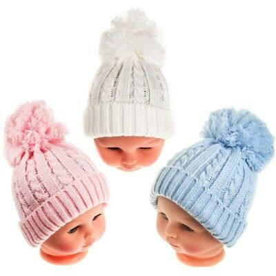 Baby Boys & Baby Girls Winter Knitted Bobble Hats - Pink, White, Blue Soft Touch