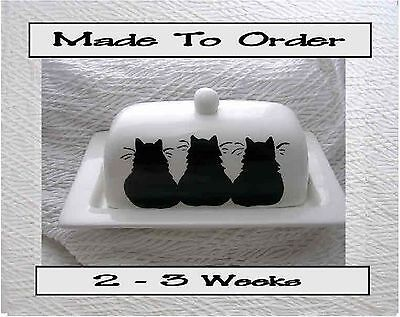 Three Black Cats Butter Dish Made To Order 2 Piece Handmade Clay by Grace Smith