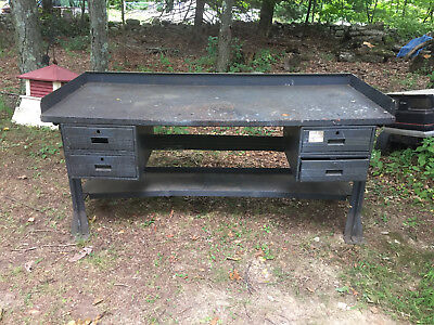 "Vintage Steel Industrial Workbench  72""X30-1/4"" X 36""tall Lot A"