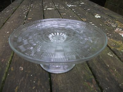 Vintage Pressed Glass  Cake Stand.