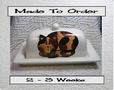 Tortie Cat Butter Dish 2 Piece Made To Order by Grace M Smith Original Handmade