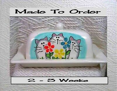 Cats & Flowers Butter Dish Made To Order 2 Piece Handmade  by Grace M. Smith