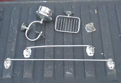 Set VINTAGE antique BATH cup TOOTHBRUSH wall holder SOAP dish TOWEL ROD chrome