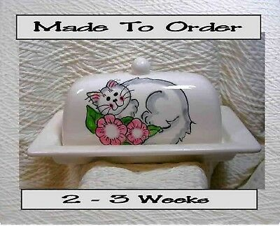 Cat With Pink Flowers Butter Dish Made To Order Handmade  by Grace M. Smith
