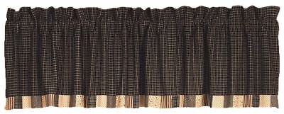 Patchwork Hem Window Valance Black and Tan Plaid White Cotton Lined Kettle Grove