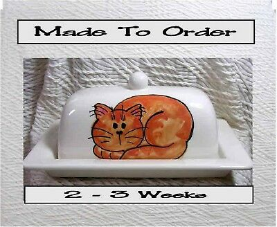 Ginger Striped Cat Butter Dish Clay Made To Order by Ceramic Artist Grace Smith