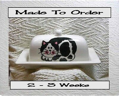 Black & White Smiling Cat Butter Dish Made To Order Ceramic Artist Grace Smith