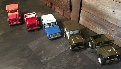 Vintage Pressed Steel Tonka Jeep Collection Lot of 5 Rare Vehicles Buddy L 60s