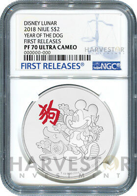2018 Disney Lunar - Year Of The Dog - Ngc Pf70 First Day Of Issue - W/ogp