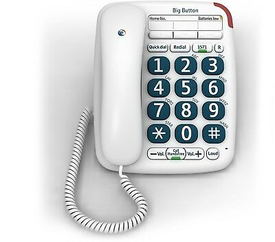Single Retro Big Button Dial Corded Landline bt Home House Phone Telephone