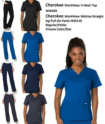 Cherokee Scrubs WorkWear Revolution Set Top WW620 Pant WW110 All Colors All Size