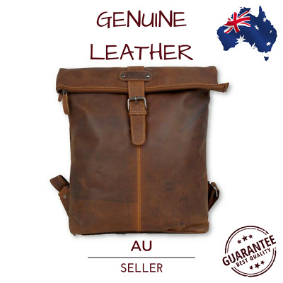Classic Leather Roll top Backpack Men's Unisex Rucksack Bag Luggage Pack New AU