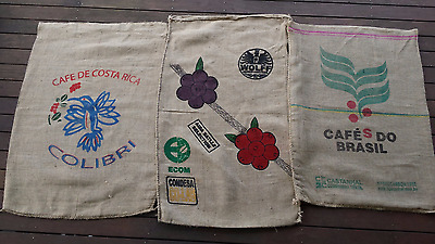 Hessian Coffee Sack Colourful Print 3 PACK  Upcycle Crafts   Postage included