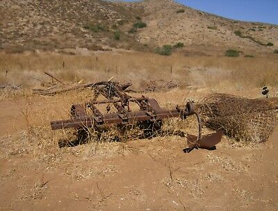 Tractor attachment double vintage plow for furrowing 2 rows for planting or?