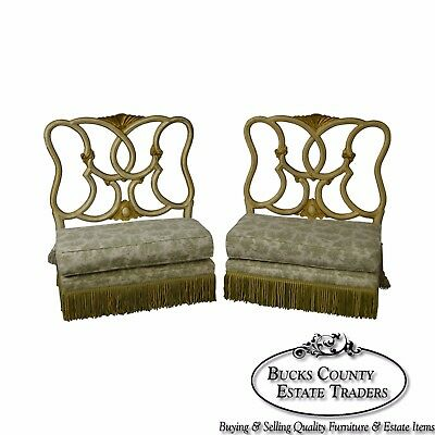 Antique Italian Painted & Upholstered Pair of Foyer Settees Benches