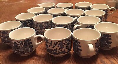 Vintage Blue Willow China Coffee Tea Cup - Set of 17
