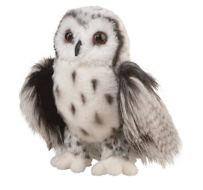"Douglas Crescent SILVER OWL Plush Toy 10"" Tall Stuffed Animal NEW"