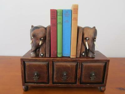 Vintage ELEPHANT BOOK ENDS  Hand Carved Solid Wood Very HEAVY